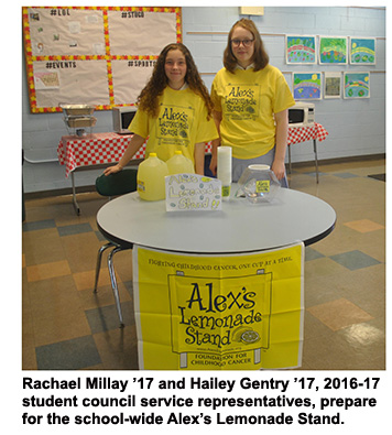 Rachael Millay '17 and Hailey Gentry '17, 2016-17 student council service representatives, prepare for the school-wide Alex's Lemonade Stand.